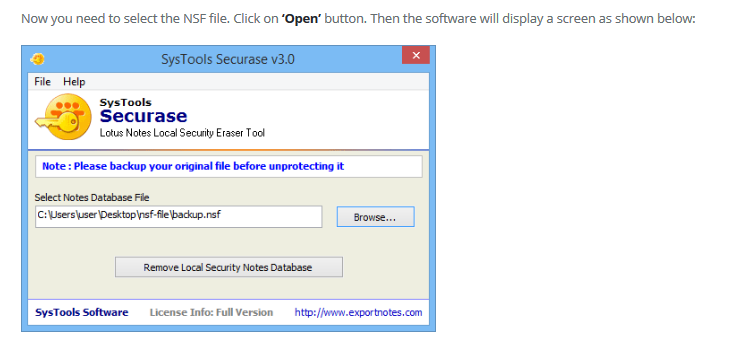 Remove Lotus Notes Local Database Security | Download Securase